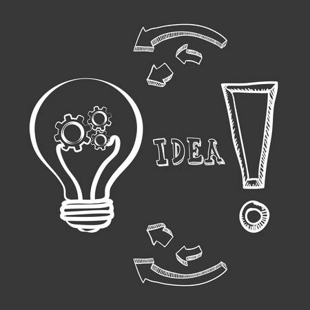 invent clever: bulb gears big and great idea creativity icon set. Sketch and draw design. Vector illustration Illustration