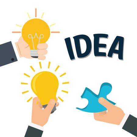 invent clever: bulb puzzle big and great idea creativity icon set. Sketch and draw design. Vector illustration