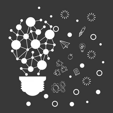 invent clever: bulb pointed paperplane puzzle gears big and great idea creativity icon set. Sketch and draw design. Vector illustration