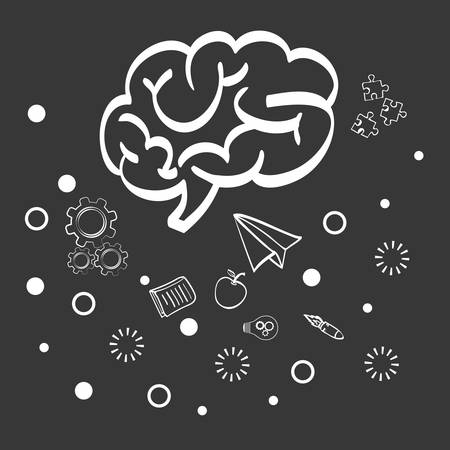 invent clever: brain paperplane big and great idea creativity icon set. Sketch and draw design. Vector illustration
