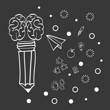 invent clever: brain pencil paperplane big and great idea creativity icon set. Sketch and draw design. Vector illustration Illustration