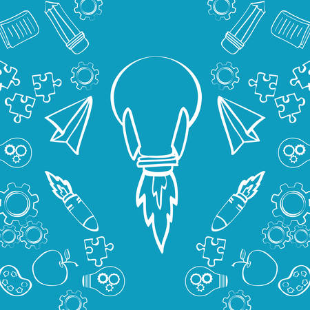 great idea: bulb rocket paperplane puzzle gears pencil apple big and great idea creativity icon set. Sketch and draw design. Vector illustration Illustration
