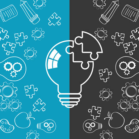 bulb puzzle gears pencil apple big and great idea creativity icon set. Sketch and draw design. Vector illustration
