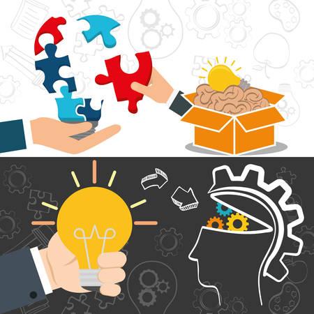 great idea: bulb hand puzzle brain box head gears big and great idea creativity icon set. Sketch and draw design. Vector illustration