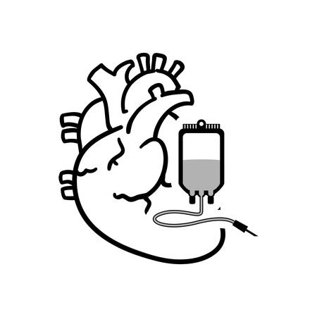 blood bag: heart blood bag medical health care hospital silhouette icon. Flat and Isolated design. Vector illustration