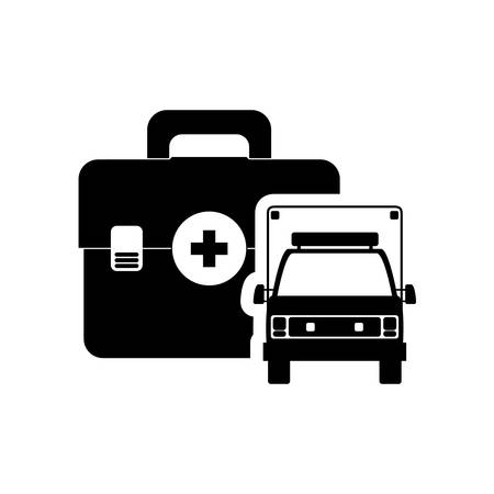 urgent care: ambulance medical kit health care hospital silhouette icon. Flat and Isolated design. Vector illustration