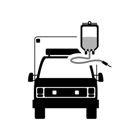 blood bag: ambulance blood bag medical health care hospital silhouette icon. Flat and Isolated design. Vector illustration