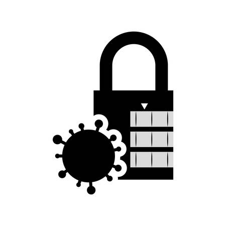 parasite: parasite padlock cyber security system protection silhouette icon. Flat and Isolated design. Vector illustration