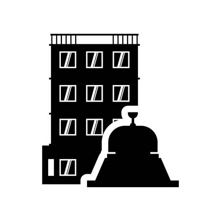 service bell: bell hotel building windows service silhouette icon. Flat and Isolated design. Vector illustration