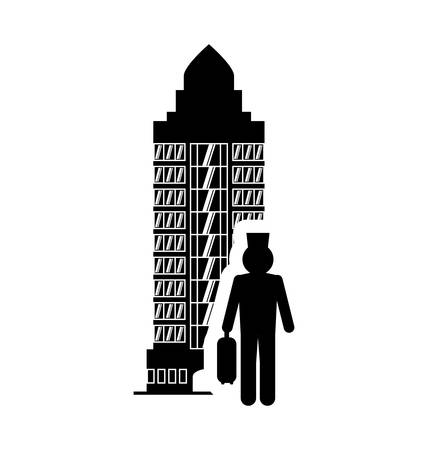 bellboy: bellboy hotel building windows service silhouette icon. Flat and Isolated design. Vector illustration