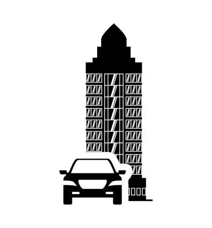 building silhouette: car auto taxi hotel building windows service silhouette icon. Flat and Isolated design. Vector illustration Illustration