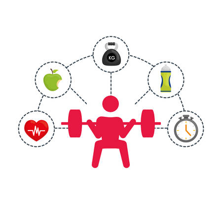 nutritional: pictogram weight lifting bottle apple heart healthy lifestyle fitness gym bodybuilding icon set. Colorful and flat design. Vector illustration