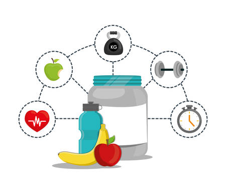 protein apple banana bottle weight healthy lifestyle fitness gym bodybuilding icon set. Colorful and flat design. Vector illustration