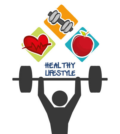 pictogram weight lifting heart apple healthy lifestyle fitness gym bodybuilding icon set. Colorful and flat design. Vector illustration Illustration