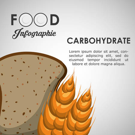 carbohydrate: carbohydrate bread wheat ear healthy and organic food nutrition lifestyle icon set. Colorful and flat design. Vector illustration Illustration