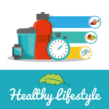 chronometer: bottle watch chronometer food healthy lifestyle fitness gym bodybuilding icon set. Colorful and flat design. Vector illustration