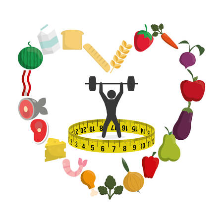 nutritional: pictogram meter weight lifting heart food menu fruits vegetables protein healthy lifestyle fitness gym bodybuilding icon set. Colorful and flat design. Vector illustration