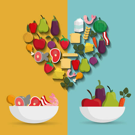 carbohydrate: heart bowl carbohydrate protein fruits vegetables healthy and organic food nutrition lifestyle icon set. Colorful and flat design. Vector illustration