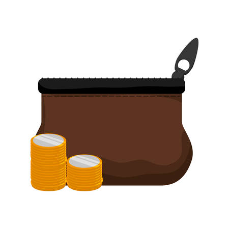 coin purses: purse coin gold money financial item commerce market icon. Flat and Isolated design. Vector illustration Illustration
