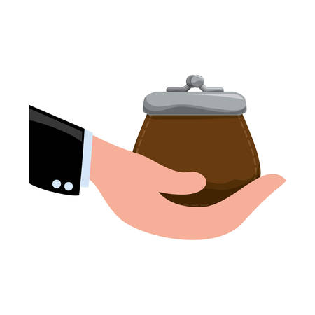 financial item: purse hand money financial item commerce market icon. Flat and Isolated design. Vector illustration Illustration