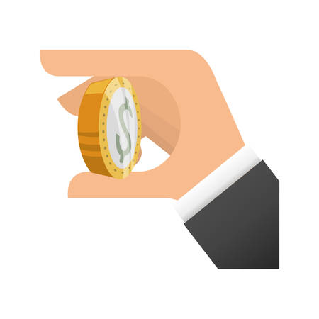 financial item: hand coin money financial item commerce market icon. Flat and Isolated design. Vector illustration