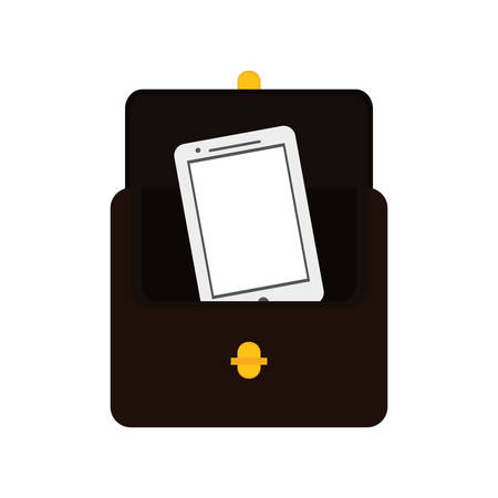 financial item: wallet smartphone money financial item commerce market icon. Flat and Isolated design. Vector illustration