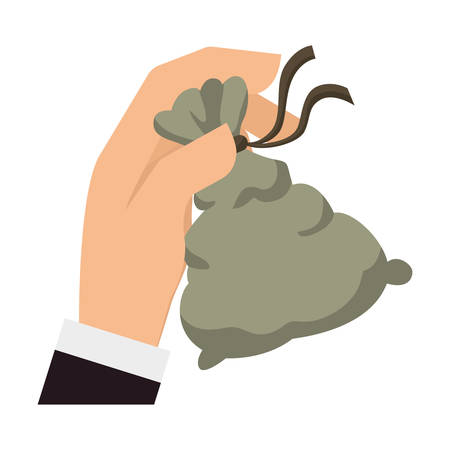 hand with a bag of money: money bag hand financial item commerce market icon. Flat and Isolated design. Vector illustration