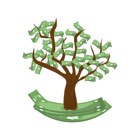 financial item: bill green tree money financial item commerce market icon. Flat and Isolated design. Vector illustration