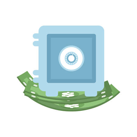 strongbox: bill green strongbox money financial item commerce market icon. Flat and Isolated design. Vector illustration