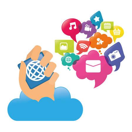 cloud hand mobile apps application online icon set. Colorful and flat design. Vector illustration Illustration
