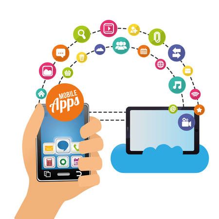 smartphone tablet cloud mobile apps application online icon set. Colorful and flat design. Vector illustration Illustration