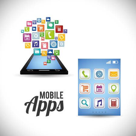 smartphone mobile apps application online icon set. Colorful and flat design. Vector illustration