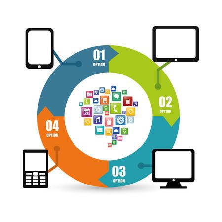 online service: smartphone tablet computer infographic mobile apps application online icon set. Colorful and flat design. Vector illustration Illustration
