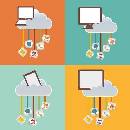 smartphone tablet laptop computer cloud mobile apps application online icon set. Colorful and flat design. Vector illustration