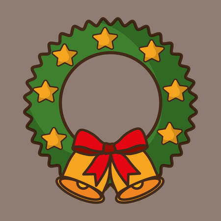 bell bowtie merry christmas decoration celebration con. Colorful and flat design. Vector illustration