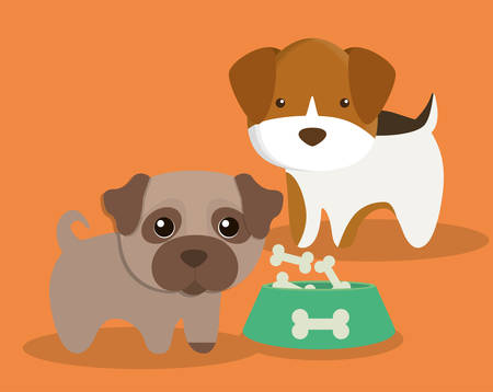 dog bone food cartoon pet animal con. Colorful and flat design. Vector illustration Illustration