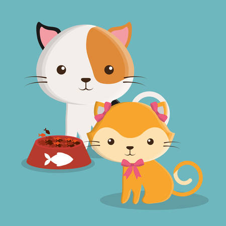 cat food fish cartoon pet animal con. Colorful and flat design. Vector illustration Illustration