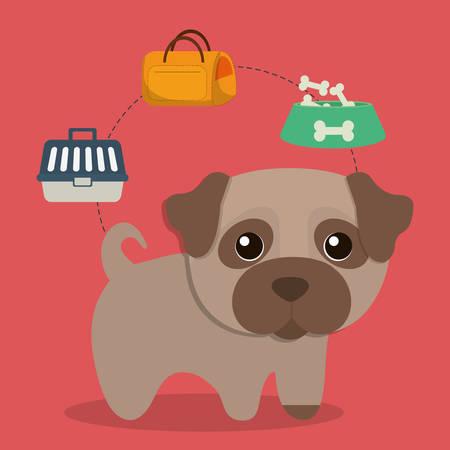 con: dog bone food bag basket cartoon pet animal con. Colorful and flat design. Vector illustration