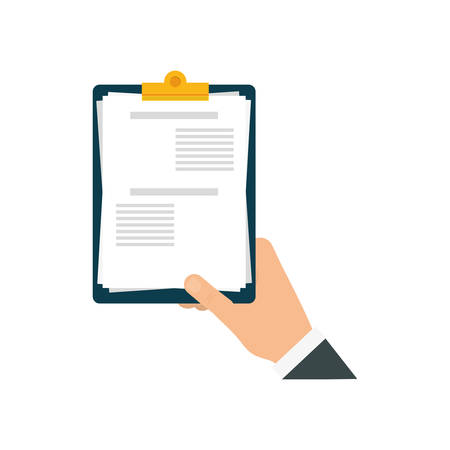 check list document paper hand icon. Isolated and flat illustration. Vector graphic