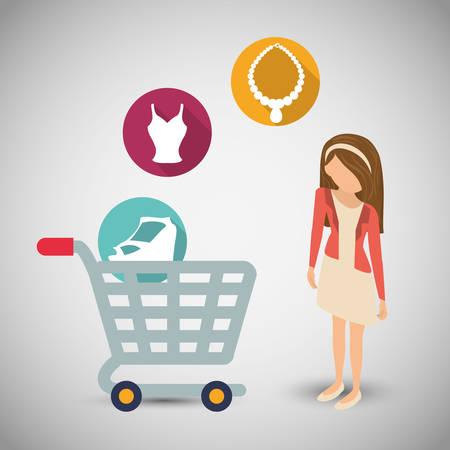 Conjunto del icono de la venta oferta del mercado avatar carrito de compras tienda de la tienda mujer niña. diseño colorido y plana. ilustración vectorial