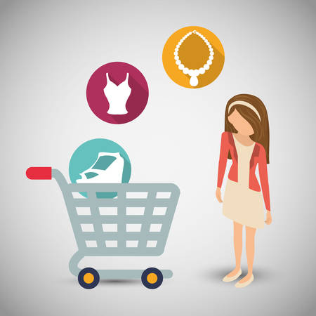 woman girl avatar shopping cart shop store sale offer market icon set. Colorful and flat design. Vector illustration Illustration