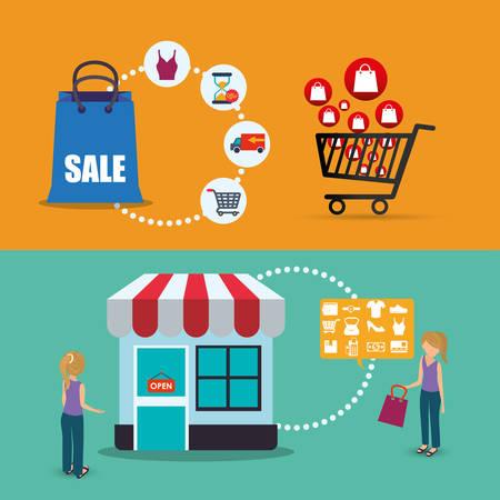 avatar conjunto shoppingket bolsa B tienda almacén oferta de venta icono mercado muchacha mujer. diseño colorido y plana. ilustración vectorial