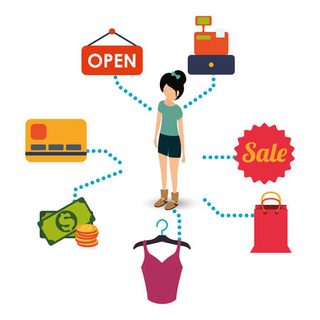 woman girl avatar shopping shop store sale offer market icon set. Colorful and flat design. Vector illustration