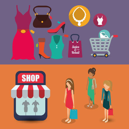 woman shopping cart: woman girl avatar cloth shopping cart shop store sale offer market icon set. Colorful and flat design. Vector illustration Illustration