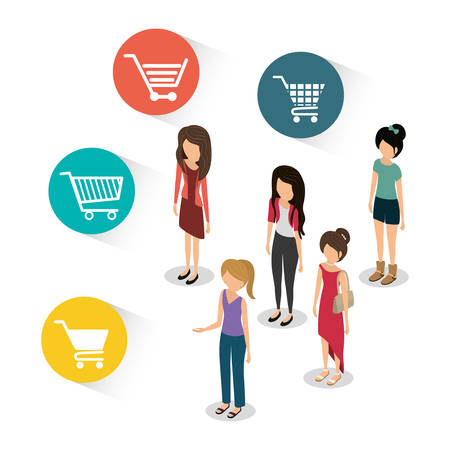 woman shopping cart: woman girl avatar shopping cart shop store sale offer market icon set. Colorful and flat design. Vector illustration Illustration