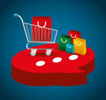 shopping cart bag shop store sale offer market icon set. Colorful and flat design. Vector illustration
