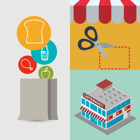 food shop: supermarket food awning shopping bag scissor shop store sale offer market icon set. Colorful and flat design. Vector illustration Illustration
