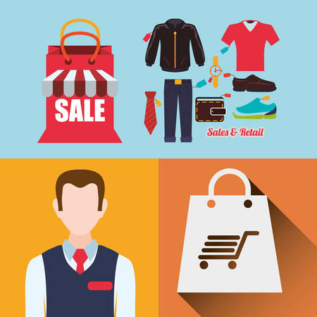 man male avatar shopping cloth shop store sale offer market icon set. Colorful and flat design. Vector illustration