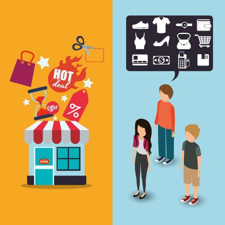 estableció hombre mujer icono de oferta de venta de mercado tienda de compras del almacén avatar tela. diseño colorido y plana. ilustración vectorial