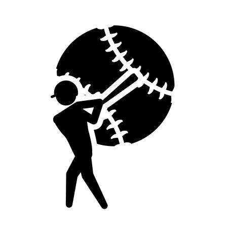 sport man: ball player man person baseball sport competition game hobby icon. Flat and Isolated design. Vector illustration Illustration